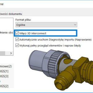 Edycja komponentu importu w 3D Interconnect