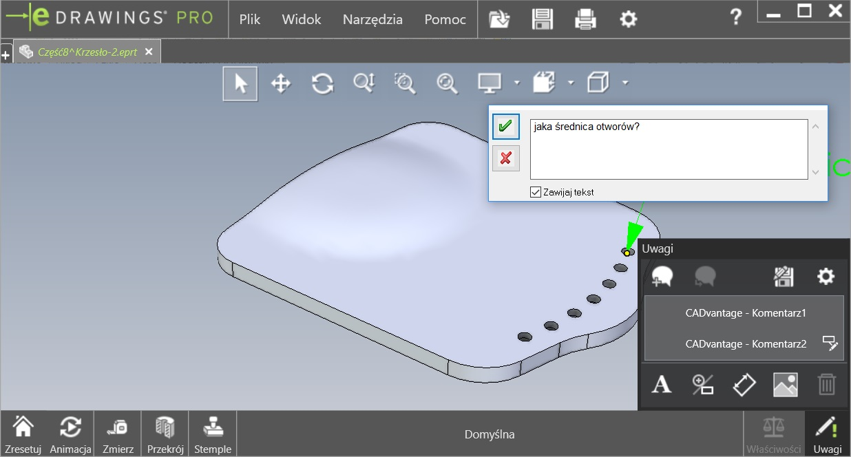 The new document part / assembly in SolidWorks eDrawings Viewer