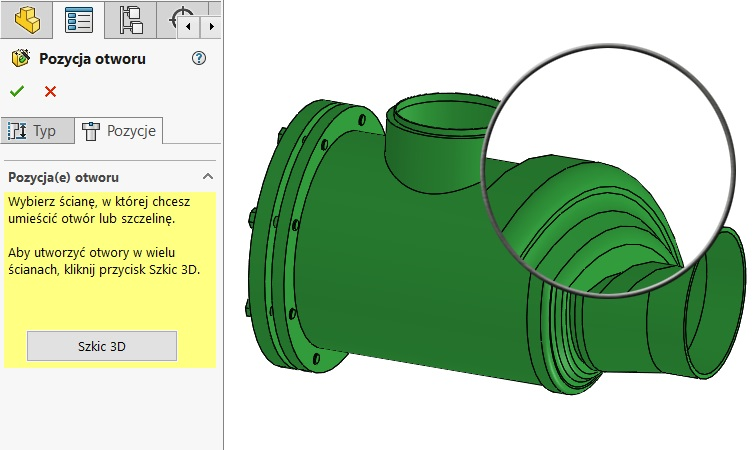 Opening the wizard angular offset holes - SOLIDWORK
