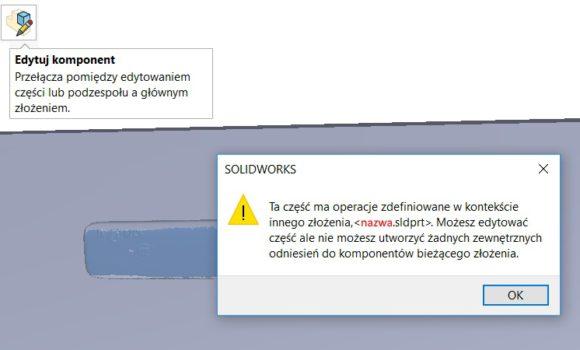 Edycja części w złożeniu – nie można dodać kolejnego odniesienia