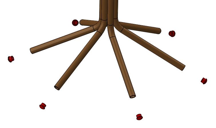 Odchyl od osi w widoku pozycji rozstrzelonej
