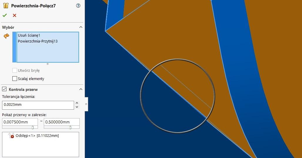 łączenie powierzchni solidworks