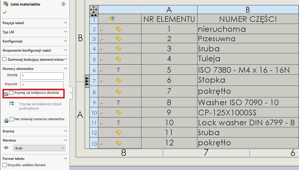 kolejność w liście elementów