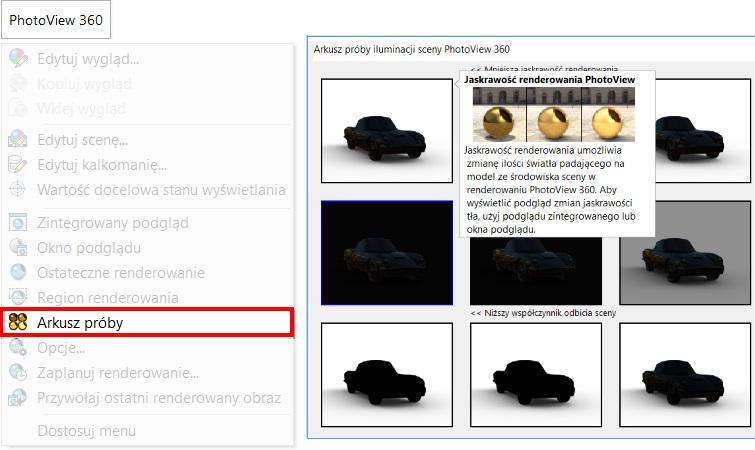 Arkusz próby iluminacji sceny w PhotoView 360
