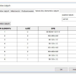 Wyklucz z listy elementów ciętych z poziomu okna właściwości