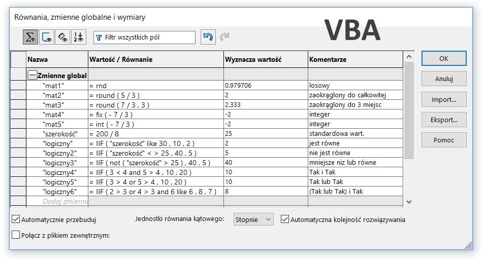 operatory VBA