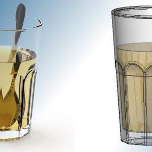 Renderowanie płynów umieszczonych w transparentnych butelkach