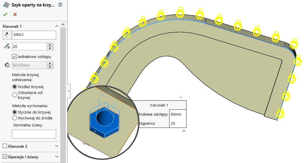 szyk oparty na krzywej