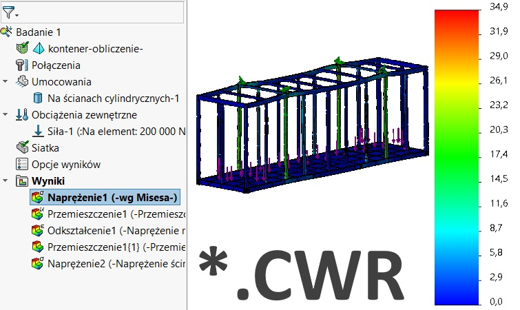 Brakujący plik z wynikami symulacji SOLIDWORKS Simulation