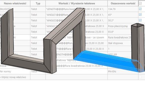 O co chodzi z tymi kątami w liście elementów ciętych konstrukcji spawanej?