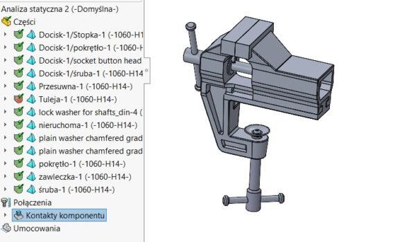 Rozmiar siatki komponentu w odniesieniu do siatki złożenia MES