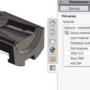 Menedżer zakładki właściwości pozwala na wybór materiału