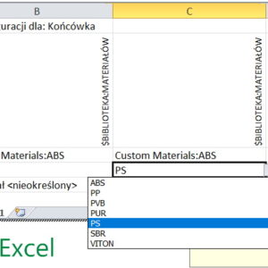 Sterowanie materiałem za pomocą Tabeli konfiguracji Excel