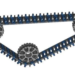 Szyk łańcuchowy z 3 komponentów na przykładzie gąsienicy